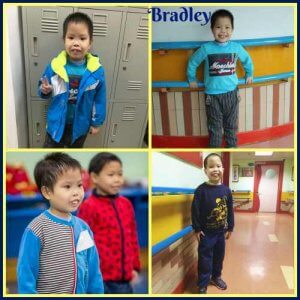 a collage of 4 photos of Bradlee, who has black hair & dark eyes. (1) Bradlee stands in front of some lockers smiling, holding a peace sign on 1 hand, wearing a blue jacket & top. (2) Bradlee stands with his hands on a railing behind him, smiling, wearing a blue long-sleeved shirt & striped pants. (3) Bradlee stands in a room w/ another child (MaryKate, below), looking off-camera, wearing a half-blue, half black-and-white striped shirt. (4) Bradlee stands in an empty room by himself, smiling in a navy blue long-sleeved t-shirt & jeans.