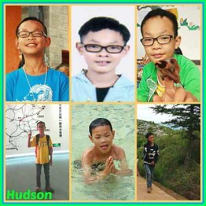 PD: 6-photo collage of Hudson, who has brown eyes, black hair, & wears glasses. He is doing a variety of activities, including pointing to a map wearing a backpack, swimming, & hiking.