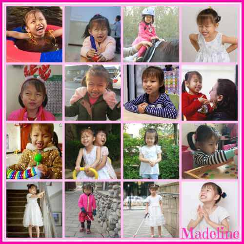 PD: A 16-photo collage of Madeline doing many activities, including walking using her cane, going down stairs, playing in a pool, riding a horse, playing w/ toys, riding a toy w/ another child, & smiling cheesily at the camera. She has beautiful black hair & dark almond-shaped eyes.