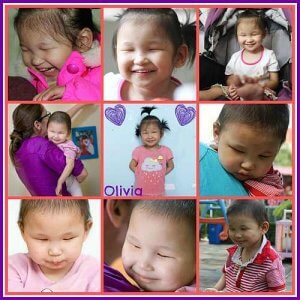 PD: Olivia has soft, black hair. In this 9-photo collage, photos seem to range from infant to young child range; in some photos, her hair is shaved short; in others, it is long enough to be pulled into 2 pigtails. She has a huge smile in most of the photos! She's doing various activities, such as being cuddled by a caregiver, sitting in a stroller, & standing on a playground.
