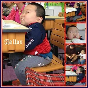 PD: a 5-photo collage showing Stellan sitting at his desk in school, in his wheelchair w/ a book in front of him, & w/ a volunteer.